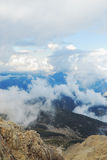 Clouds-covered high mountains. Tahtali, Turkey, Kemer, Antalya Royalty Free Stock Photo