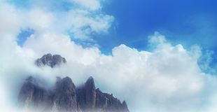 Clouds covering mountain Royalty Free Stock Image