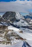 Clouds covering Swiss Alps near Mount Matterhorn,  Switzerland Royalty Free Stock Photo
