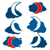 Clouds and Crescent moon. Icon Set Royalty Free Stock Photo