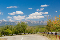 Clouds in Crimea. Clouds over the road in Crimea, beautiful mountain landscape Stock Photography