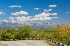 Clouds in Crimea. Clouds over the road in Crimea, beautiful mountain landscape Stock Photos