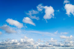 Clouds cumulus from above the sky blue flight.  Stock Image