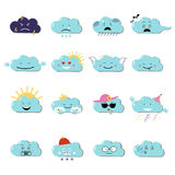 Clouds cute emoji, smily emoticons faces set. Vector flat illustration Stock Photos