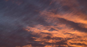 Clouds at dawn. View of clouds at dawn, with the red morning light royalty free stock images