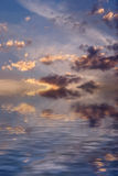 Clouds. A decline. Reflection in water stock illustration
