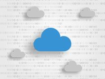 Clouds on digits as background represent iCloud technology concept. Technology background. Vector illustration.  Royalty Free Stock Image