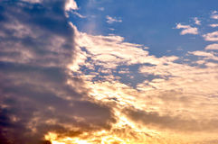 Clouds divided sky sunset colorful light dark 4 Stock Images