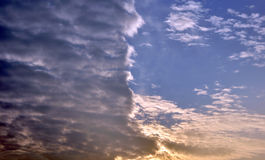 Clouds divided sky sunset colorful light dark 3 Stock Photo