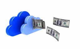 Clouds with dollars Stock Images