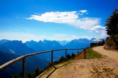 In the Clouds in the Dolomites, Italy stock images