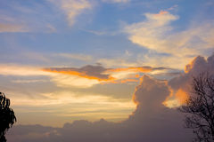 Clouds at dusk in the windward islands Royalty Free Stock Image