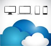 Clouds and electronics. illustration design Stock Photos