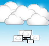 Clouds and electronics illustration Royalty Free Stock Photo