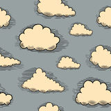 Clouds engraving seamless pattern hand-drawn illustration Stock Images