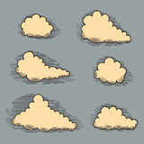 Clouds engraving Vintage elements for design.  Stock Photos