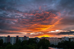 Clouds on fire at sunset Munich-Neuperlach stock images