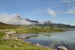 Clouds on the Fjord  of  Flakstad Stock Images