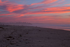 Clouds in flames Sunset in San Diego beach, CA Stock Photos