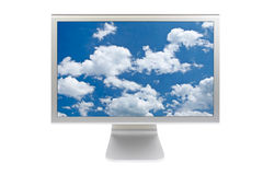 Clouds on flat panel lcd Stock Image