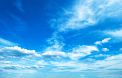 Clouds floating away. Cloudy skies in sunny weather Stock Photo