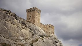 Clouds floating in the Genoese fortress. Timelapse. Clouds floating in the Genoese fortress city of Sudak, Crimea, Russia stock video footage