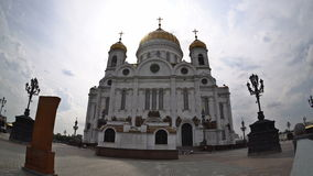 The clouds floating over the Cathedral of Christ the Saviour. Fisheye. Time-lapse. UHD - 4K. August 30, 2016 stock footage