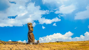 Clouds Flow over Moai at Rapa Nui National Park stock video