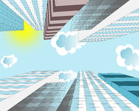 Clouds are flying in the sky over skyscrapers in the  city Stock Photography