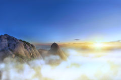 Clouds and fog at Bukhansan Mountain Royalty Free Stock Photos