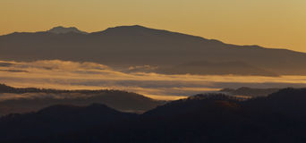 Clouds and fog over Appalachian mountains Stock Photo