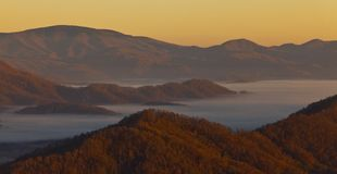 Clouds and fog over Appalachian mountains Stock Photos
