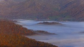 Clouds and fog over Appalachian mountains in autum Stock Image