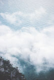 Clouds Foggy Mountains Cliff And Sea Landscape Stock Photos