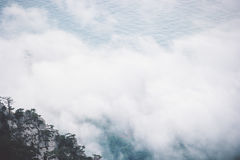 Clouds Foggy Mountains cliff and sea Landscape Royalty Free Stock Photography
