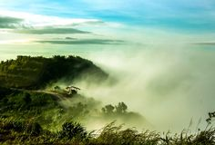 Clouds and fogs on the mountain Royalty Free Stock Photos