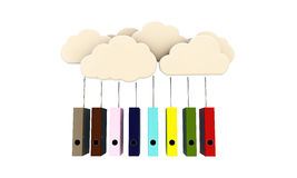 Clouds and folders Royalty Free Stock Photo