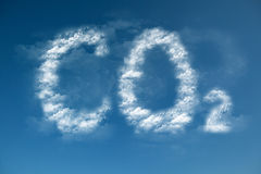 Clouds form a CO2 symbol. Global warming Stock Photography