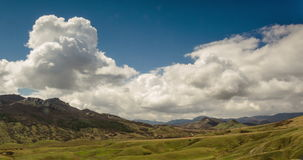 Clouds form over the valley. In warm sunny day stock video