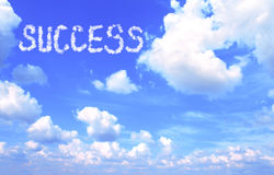 Clouds in the form of success word Royalty Free Stock Images