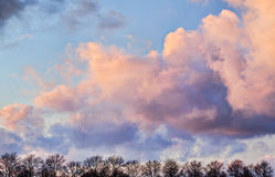 Clouds Formation. Silhouette landscape of big clouds and trees at sunset stock photos