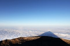 Colorful sunrise over the Atlantic Ocean seen from Pico Volcano. Clouds formation at sunrise over the Atlantic Ocean, seen from Pico volcano 2351m, Pico Island Stock Images