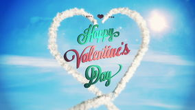 Clouds forming heart shape in sky with valentines message. Digital animation of Clouds forming heart shape in sky with valentines message stock video footage