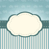 Clouds frame. Vintage frame. Background with retro style clouds and stripes stock illustration