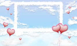Clouds love frame. White clouds frame on blue sky background with pink heart balloons Stock Illustration