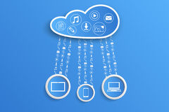 Clouds and  gadgets Royalty Free Stock Images