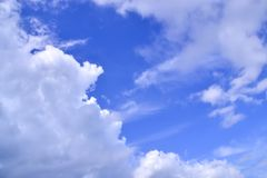 Clouds in the air change shape in many ways. Clouds gather densely in the hot sun before the rain shifts to quench the heat royalty free stock photos