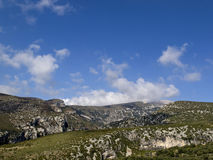 Clouds in guara's mountains. Panoramic view of Guara's mountains Royalty Free Stock Photo