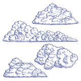 Clouds Hand Draw Sketch. Vector Stock Images