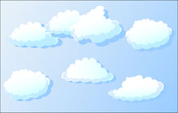 clouds hanging on a ribbon,vector Royalty Free Stock Photos